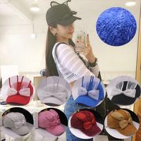 2015 fashion women sweet gauze rabbit ear hats baseball caps female bow cap knitted hat 11colors for choosing