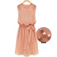 Slim elegant formal beaded sleeveless tank dress chiffon one-piece summer lady dress