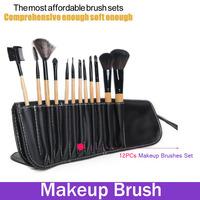 Professional 12Pcs Makeup Eye Shadow Lip Brush Set Natrul Wood  Handle Black Tube Multi-Function Brushes Kit Cosmetic