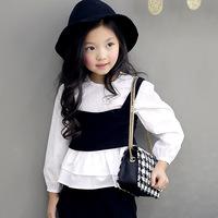 5pcs/lot spring hot sale girls fashion patchwork fake 2 pieces tops kids ruffles blouses 1155