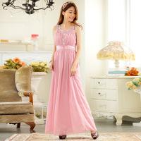 L-3XL 2015 Summer High-End Wedding Big Size Crystal Sleeveless Floor Length Pleated Chiffon Maxi Long Evening Dress
