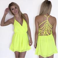 2015 Summer Macacao Feminino Sexy Backless Playsuit V-Neck Ladies Chiffon Short Jumpsuit Women Spaghetti Strap Overalls Bodysuit