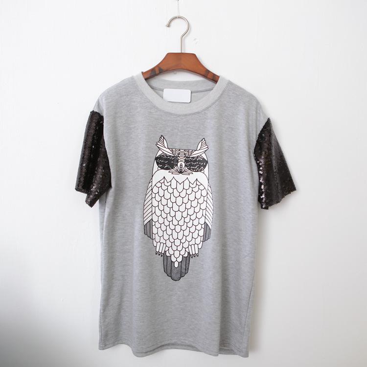 Black Sequin Top Tops Owl Print Sequin Top