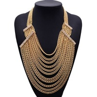 2015 New Arrival Fashion Statement Multi-clain Vintage Long Necklace Women Jewelry Good Quality Necklace 4022