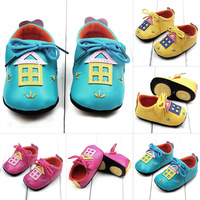 Toddler Baby PU Leather 3D Magic Hut Pattern Crib Shoes Baby Lace Shoes 0-12M