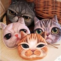 5Piece/Lot 2015 Japanese Style Women Fashion Lolita Cute Cartoon Bigger Eyes Cat Coin Purses 2207