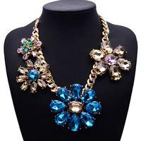 2015 New Arrival Simple Clain Flower Gem Crystal Clain Good Quality za Brand Necklace Jewelry 4025