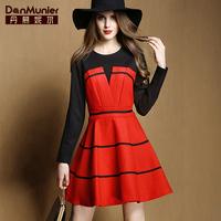 2015 spring elegant color block patchwork gentlewomen o-neck a expansion bottom slim one-piece dress for 501 076