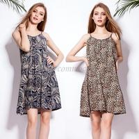 free shipping 2015 new fashion loose cotton women sleeveless dresses design women leopard dress sexy lady