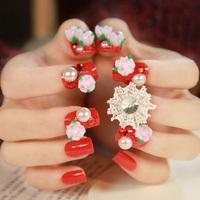 Fabric rose red bridal false nails art decoration,woman false nails manicure art ornament display,4.20817.Free shipping