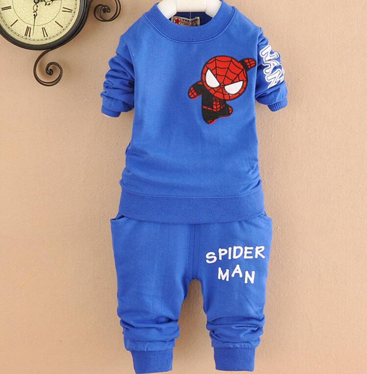 2015 nova primavera coreano crianças Spiderman conjuntos de roupas de treino roupa dos miúdos dos desenhos animados Top suor + calça esportiva vetement enfant(China (Mainland))