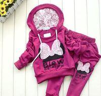 2015 New style children set Cartoon girl's Bow set hoodie+pants 2 pcs baby fall garment YCZ020
