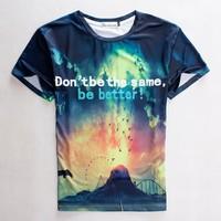 "(Alice)free shipping 2015 summer Fashion t-shirt unisex men/women galaxy ""don't be the same be better"" print casual 3d t shirt"