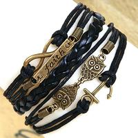 Hot-selling 2015 jewelry diy fashion personality fashion vintage 8 knitted bracelet faith anchor Charm bracelet
