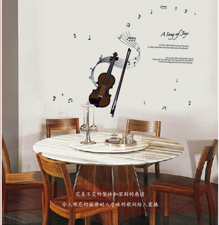 2015 free shipping 50 * 70 cm violin notes wall fashionable children wall stick music classroom piano room wall(China (Mainland))