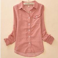 is not closing 2015 Polka Dot Long-sleeve Cotton Camisa Shirts Women Clothing Fashion Blouse top Shirt Vintage Casual Clothes