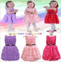Wholesale girls princess rose dresses children pure cotton sleeveless one-piece kids popular sundress summer clothes 5 colors