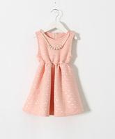 2015 New Girls Pearls Necklace Vest Dresses, Princess Elegant Formal Lady Summer Dress White Pink  5 pcs/lot,Wholesale