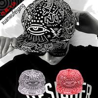 personality unisex street star baseball cap punk eyes print hiphop hat doodle flat brimmed hat