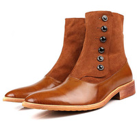 2015 new men's boots pointed toe men's shoes metal buttons nubuck leather genuine leather denim cowboy western casualboots