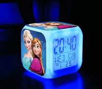 LED Digital Clock kids Alarm Thermometer Night Plastic 4 Patterns No Battery