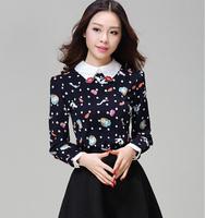 Fast/Free shipping 2015 Plus Size Fashion Korean Clothing Casual Blusas Femininas Lips Print Slim Blouse Women Blouses C5301