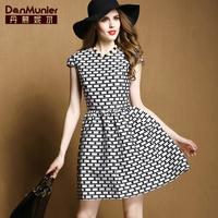 2015 spring fashion polka dot print o-neck short-sleeve elegant gentlewomen one-piece dress for 501 007