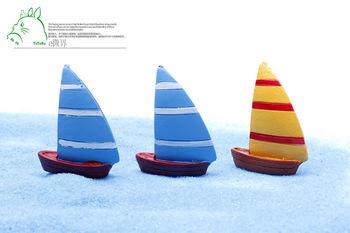 В средиземноморском стиле парусная 3 * 4 см мини лодки миниатюры волшебный сад гном мосс террариум домашнего декора ремесла бонсай домашнего декора для DIY