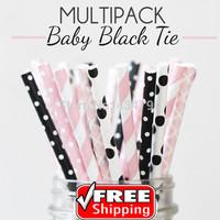 250pcs Mixed 5 Designs BABY BLACK TIE Themed Paper Straws -Light Pink,Black,Stripes,Polka Dot,Swiss Dot,Damask,Shower,Mason Jars