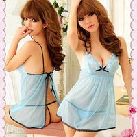 1PC Fashion Babydoll Women Blue Sexy Racy Lingerie Sleepwear Dress+Thongs Alipower
