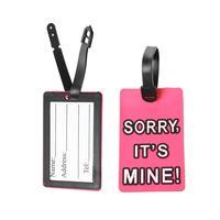 Polyvinylchlorid Travel Suitcase Baggage Tag Name Bag Card Holder Fuchsia 10.5cm x 6.5cm, 5 PCs 2015 new