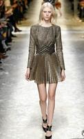 2015 New  Fashion Summer & Spring dress Pleated dress women's high quality dresses Golden Short Mini Dress  TPS065