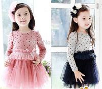 wholesale NEW dresses Girls fashion gauze one-piece dress Children long sleeve princess wears kids clothes
