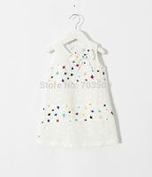 2015 Baby Girls Cotton Birds Pattern Bow Vest Dresses Kids Cute Summer Dress  6 pcs/lot ,  Wholesale