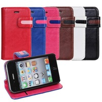 Dual Colorful Leather Case For iPhone 4 4s +Free Screen Protector