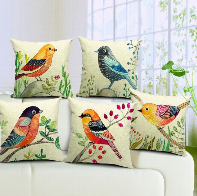 Novas aves do mundo Serenity Cotton Linen Sofa assento da cadeira cama fronha / capa de almofada Home Decor Hotel decorativo quadrado(China (Mainland))