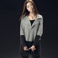 Women Turn-Down Collar Stitching Plus Size Coat Women'S Elegant One Size Retro Cardigan Graceful Grey Wool Spring Coat ZZ006
