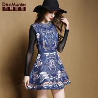 2015 spring fashion vintage print one-piece dress female elegant sleeveless tank dress for 501 027