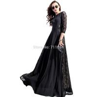 NEW BLACK LACE SPLICING 3/4 SLEEVE WOMEN FULL SWEEP MAXI DRESS