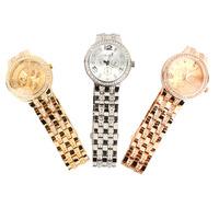 2015 New Fashion Geneva Watch Women Dress Watches Rose gold Full Steel Analog Quartz Ladies Rhinestone Wristwatches 3COLOR