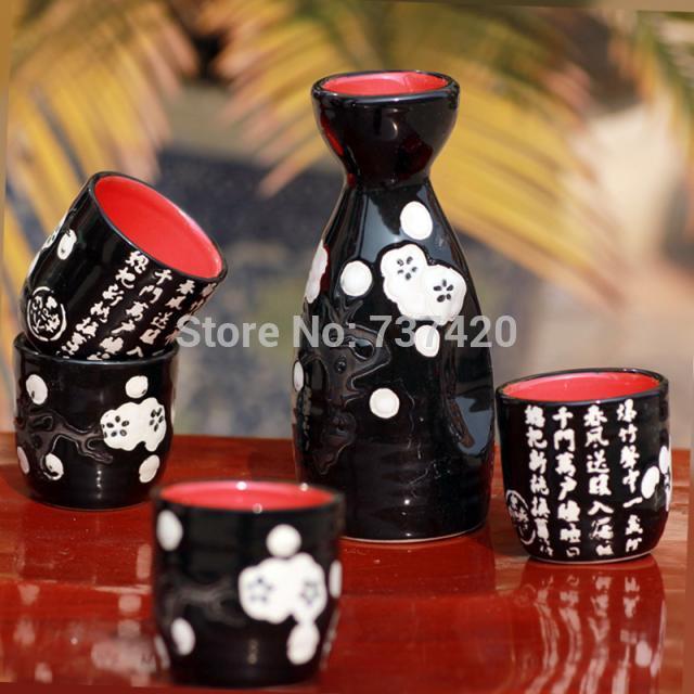 New 5PCS SET Japanese tea wine tools one pot four cups Japanese wine spirits ceramics of