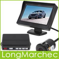 2PCS 4 Parking Sensors Car Reversing Radar Parking Assistance System 4.3 Inch TFT LCD Screen Car Rear View Mirror Monitor Camera