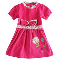 one piece nova brand baby girl short sleeve dress embroidery flower with bow dress new fashion