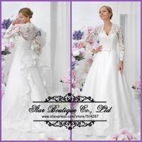 2015 New Vestido De Noiva V Neck Full Sleeves Long Lace White Wedding Dresses Bridal Dress For Weddings