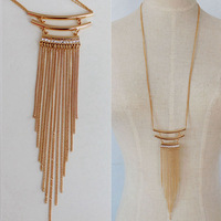 Fashion Charm Lots Gold Chains Rhinestones Metal Pipes Long Necklaces & Pendants For Women Jewelry Wholesale
