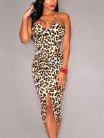 Newest Women Summer Dress Backless Pencil Vestidos Femininos Leopard Print Crisscross Back Front Slit Midi Dress B5323 Fshow