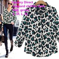 Manufacturers selling 2015 new women's leopard print lapel long sleeve shirt joker Slim Chiffon shirt  2 colors