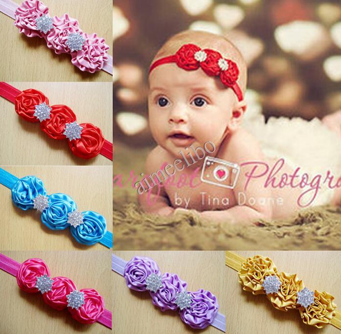 Girls Rosette Satin Rose Flower Headband With Rhinestone Button Cute Christmas Gift(China (Mainland))