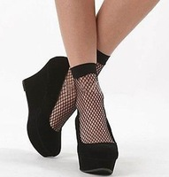 Fashion Women Black Mesh Breathable Invisible Seamless Sock Sexy Lace Ankle Socks