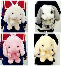 2015 Japanese Style Women Fashion Lolita Cute Cartoon Plush Bigger Ear Rabbit Backpacks Students Plush Rabbit Backpacks  F2165(China (Mainland))